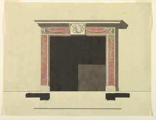 The fireplace is framed by moldings which stand upon the same bases as the lateral pilaster strips. The panels of the latter and those of the frieze are of marble. The first ones are decorated with twigs hanging from bowknots. In front of the frieze and of the lower part of the entablature is an oblong with an ovoidal representation of Psyche and Cupid. Ramheads are the upper corners supporting festoons the outer ends of which drag over eagles standing at the corners. Shadow, base line, plans, scale as in 1938-88-8199.