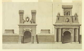 Drawing, Design for the Elevation of a Gate of a Papal Town, 1830–90