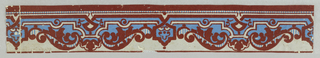 A strapwork design interspersed with foliate curls and striped areas. Printed in dark red flocking, blue and gray.  H# 31