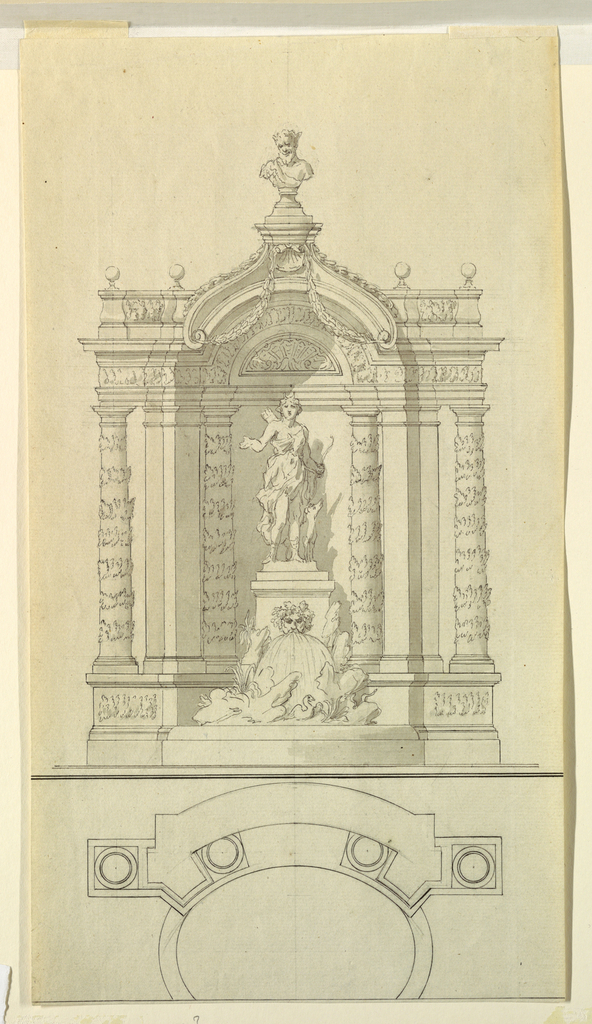 A statue of Diana within a decorated niche. Water pours from a mask at the columnar support upon boulders. At bottom, a plan.