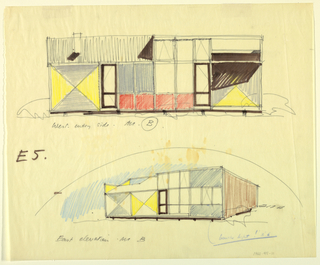 Alternative schemes of 1962-45-10 showing changes in the decorative scheme and placement of the windows.