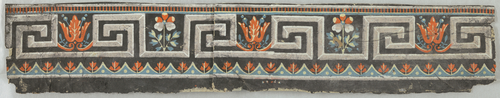 Band of Greek key motif interspersed with stylized floral motifs. Printed in black, white, green and orange.