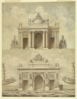 Drawing, Design for Two Triumphal Arches, ca. 1775
