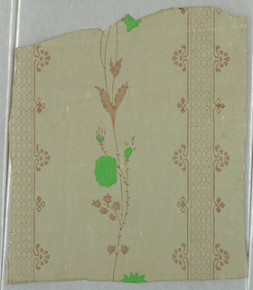Vertical rectangle. Portion of one width, with wide band set with slender vine, flanked by narrow diapered bands edged with geometric motifs.