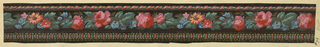 3 widths of narrow passementerie border on black ground between rope and gimp edgings.  Machine printed flowers in red, pink, blue, orange with green foliage.  H#34