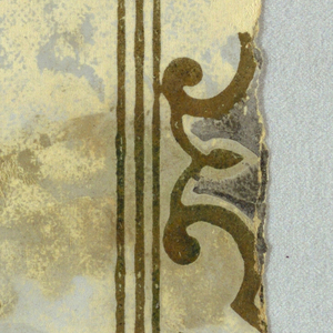 "Medallion stripe design. Parts ""a"" and ""b"" appear to be the top and bottom halves of the same motif. A sdingle motif is centered between two columns of narrow gold bands. This is followed by a band of scalloped motifs, then a band pairs of deep gray stripes. Printed in shades of gray and metallic gold on a gray ground."