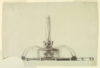 Low basin surrounded by posts with a bar. Pairs of dolphins blow water into the upper basin. This is supported by a pedestal with mersphinxes at the corners. It is covered by a shall upon which two mermen embrace a shell from which water springs.