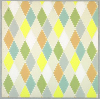 Harlequin pattern printed in pastel shades of aqua, apricot, yellow, gray, olive, white on off-white ground.