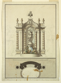 A statue of Diana stands on a richly decorated niche. Water flows from a mask on the column below onto rocks, a snake, duck and plants. A classical bust stands on top the pediment. Below, a measured plan.