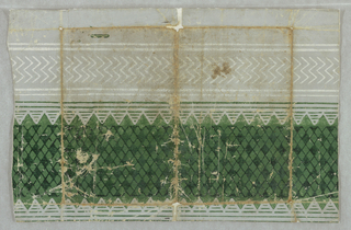 Border design, possibly from a roll of paper. Checkered band of lighter and darker green lozenges, flanked left and right by green stripes; to left, white double chevrons enclosed between white stripes. At left, original margin of paper. Original colors appear along edges, where paper has been folded. Printed in green and white on blue-gray ground.