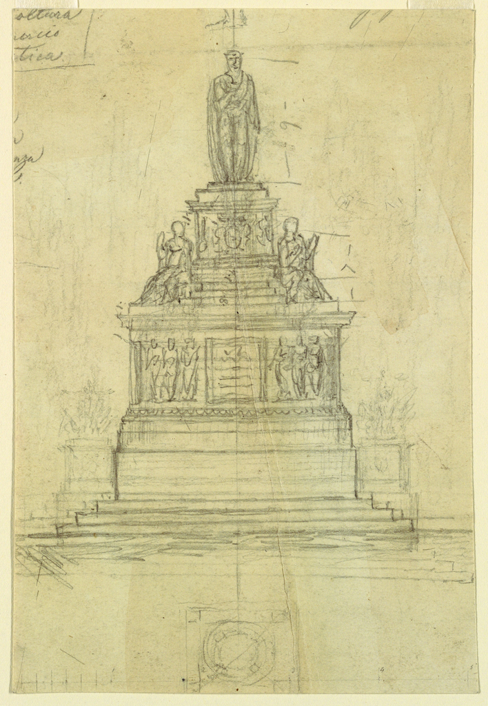A stepped monument capped by a standing figure with two seated figures at the base of the plinth. At front, an illegible inscription with three figures on each side. Below, a rough plan of the monument.