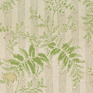 On a vertically striped ground of off-white and mica, alternating green ferns repeat in columnar fashion across.