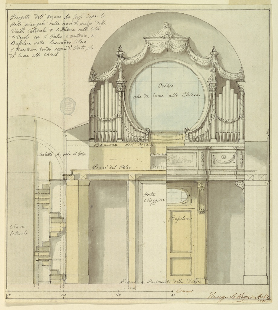 """The elevations of the wall of the middle strip with the main gateway and of most of an adjoining wall of a lateral strip are shown. The left hand of the doorway is shown opened with the inscription """"Porta/Maggiore."""" Written in the closed doorway: """"Bussolone."""" At the bottom of the doorway: """"Piano e Pavimento della Chiesa."""" The carved parapet of the pit is shown in the right half and the organ with the dado supporting the pipes and the floor of the pit are shown in the left half with the inscription """"Bancone dell' Organo"""" and """"Piano del Palco."""" The pipes flank the circular window covered by a canopy. Written in the window: """"Occhio/che da lume alla Chiesa."""" Winding stairs lead up to the pit at left with the inscriptions """"Scaletta chi sale al Palco"""" on top and """"Nave/laterale"""" beside. A caption on the top left reads """"Prospetto dell' Organo da farsi sopra la/di Veroli con il Palco e cantoria, e Bussolone sotto. lasciando libero/il finestrone tondo sopra da Porta, che/da lume alla Chiesa."""" The scale at the bottom reads """"40 Romani."""""""