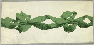 On white ground, two green ribbons tied in bows at intervals; gray edge lines.