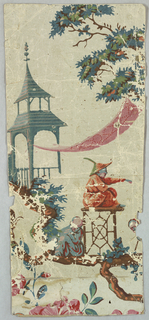 Portion of a repeating motif. A personnage in Chinese garb is seated on a trellised stand in profile. On the ground, at left, a seated figure. Above to the left is a Chinese summer house. Leafy branches and flowers. Printed in numerous colors on pale gray ground.