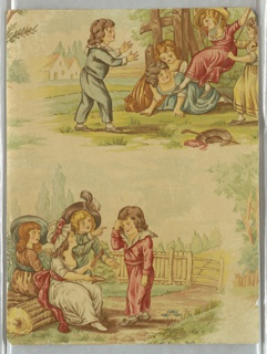 Vertical rectangle, with portion of two groups of playing children dressed in the style of the late 18th century, with landscape settings. Upper right, children at a swing; lower left, children seated in a garden.  Intaglio-printed in colors.