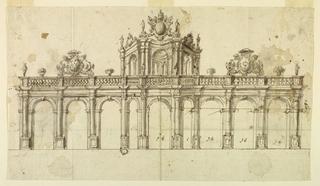 Drawing, Design for the Elevation of a Stone Screen and Loggia, ca. 1750