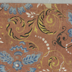Vertical rectangle with repeating pattern of foliate scrolls and conventionalized floral motif. Printed in yellow, blue, black and white on red ground.