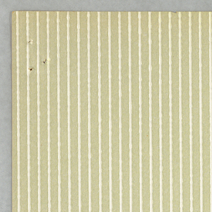 A pattern consisting of vertical stripes of embossed pigment on a flat solid background. Printed in beige and off-white.