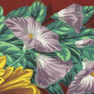 Purple morning glories and scrolling acanthus leaves. Twisted cable motif runs along bottom eedge. Printed on deep red flock background.