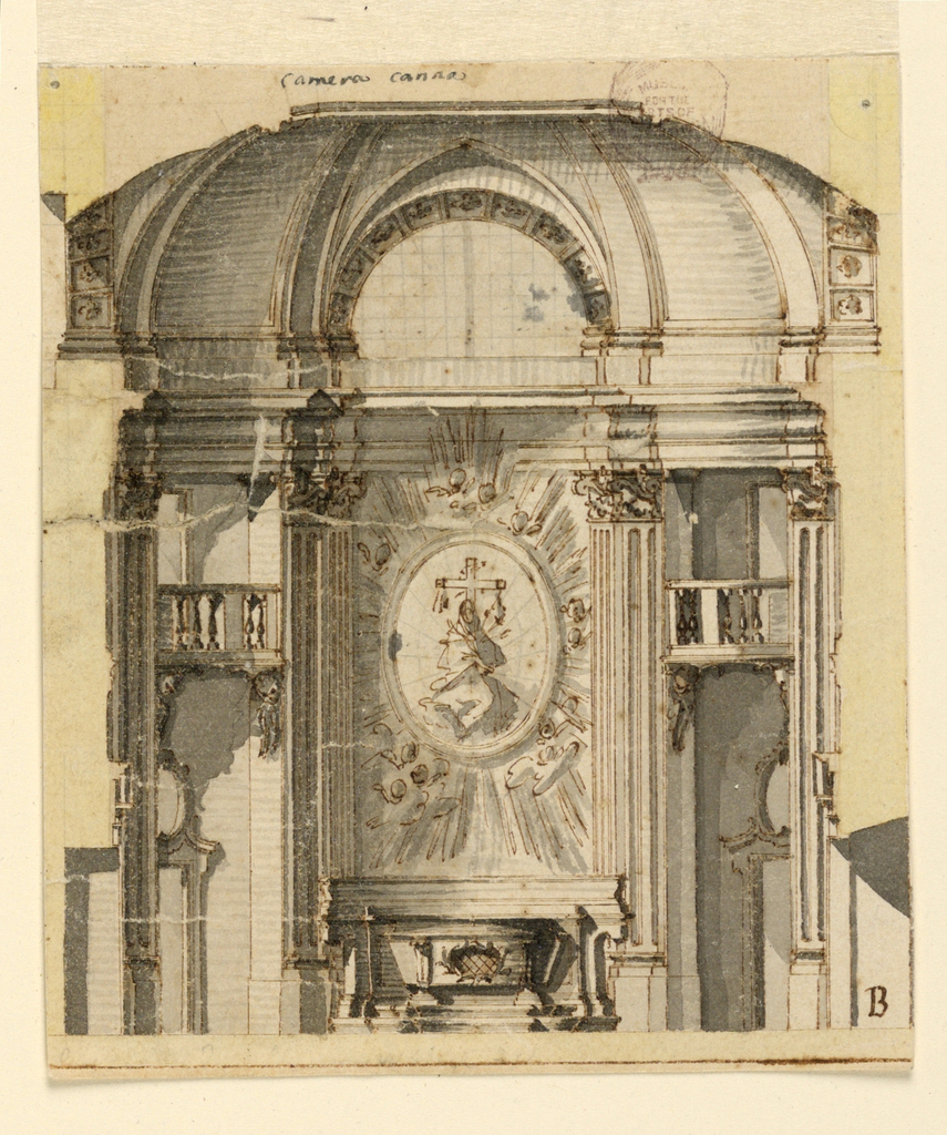 The Virgin of the Seven Swords is shown in a medallion with rays and cherubim glories. The alter stands before the convex wall. Laterally are balconies and walls with doors.