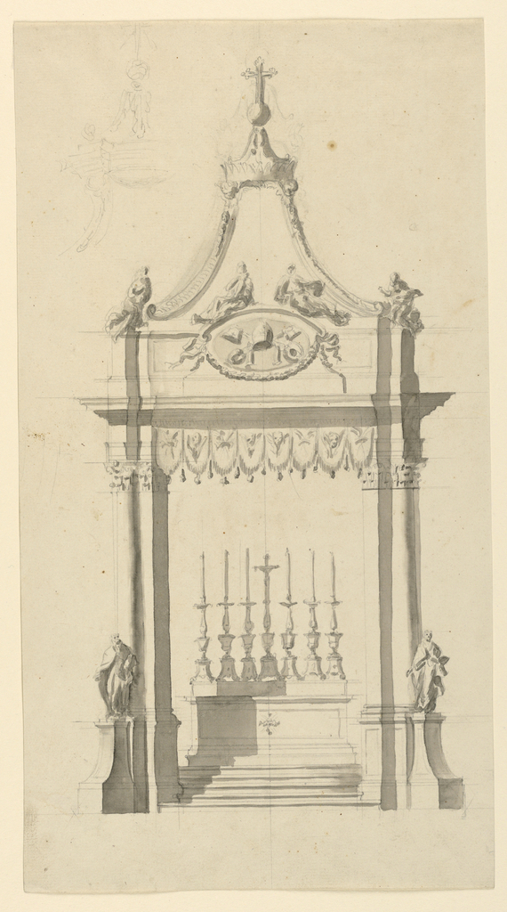 Drawing, Baldacchino with Papal Ar