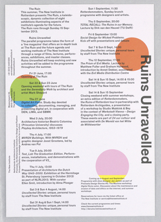 Printed announcement featuring black and white text on recto and black text with three colored circles on verso.