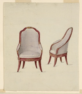 Vertical rectangle. Design for an armchair shown from the front at left and obliquely from the left side at right. More detailed version of the design in 1901-39-1506. The seat, the back, and parts of the arms are upholstered in lilac. The arms and the frame of the back are devised as one curved moulding. Some gilded mountings on chair frame.