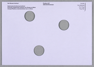 White mailing envelope with black text and three holes.