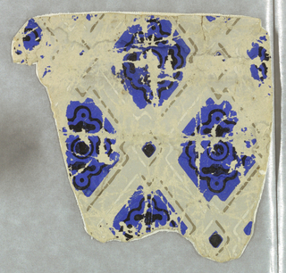 Formerly in a house at Marblehead, Massachusetts. Shows the deep cobalt French Blue. Gray diagonal bands divide the design into diamond shaped lozenges colored blue with a fine filigree design in black. Printed in violet-blue, black and gray.