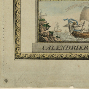 """Engraving of a perpetual calendar in the form of a monument within a decorative border. The calendar is hand colored with shades of beige, gold, blue. """"Calendrier Perpétual"""" is printed in the plinth, the base is a scene of Cronos (Father Time) rowing a boat with a scythe.  Two columns rise from the base.  The left column shows seven empty oblongs for the days of the week and is topped  by a figure of Athene.  """"Jours/de la Semaine"""" is written in the base of the statue.  The right column shows the dates of the equinoxes and solstices and is topped  by a figure of Hope. """"EPOQUES/des Saisons"""" is engraved on the base.  The columns are connected by a tablet with squares containing figures.  Upon the tablet stands an hour glass on a triple base with the words """"QUANTIEME DU MOIS"""".  A trophy on top contains a scheme for """"COUCHER/du/SOLEIL""""."""