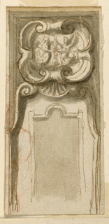 One half of an oblong panel with an escutcheon at top.