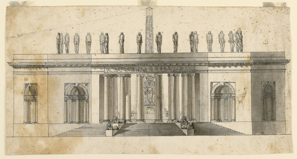 A horizontal rectangle showing a large, flat roofed structure topped with statues of standing Egyptians. A view through a colonnaded entrance shows a fountain with an obelisk at center. Front steps are decorated with four lion sculptures on plinths.