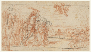 Recto depicts the martyrdom of a saint. Figures and a horse comprise the foreground of the drawing; architectural structures are in the background. Two flying putti are in the sky. Verso consists of figure and hand studies.
