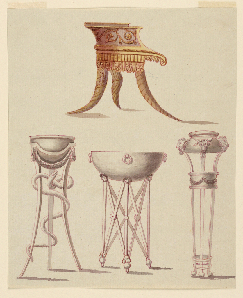 Drawing, Chair and Three Tripods