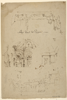 Sheet of architectural sketches, including stage designs. One side, below: a market place. Center: a polygonal room with a cupola. Above, in opposite direction: the stage is bordered by the outskirts of a fortified town. Other side, below at left: a gate as a sidewing. At right: a hall with a monument at its center. Center, in opposite direction: interior of a fortress with stairs leading to a tower bridge. Below, at right, a plan.