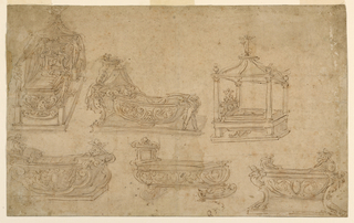 Six designs for a child's bed. At upper left, a cradle with a child in it stands upon a platform. Four statues support the canopy. At upper center, a trough-like bed with a child in it is fastened to a parapet which rises from a platform and upon which putti are intended to hold a canopy. The other end is intended to be carried by two putti. At upper right, a bedstead with a child in it stands in a kind of pavillion. At lower left, a bedstead with a child in it, in the shape of a ship on a platform. At lower center, a trough-like cradle. At lower right, a kind of bowl is supported by figures of chimaerae upon a platform.