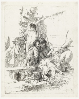 At right, Punchinello, seated in profile. Center, two seated magicians. Behind them, to the left, a standing nude man, looking left. Various figures in background; in foreground, a helmet and sword, with owl perched on sword blade.