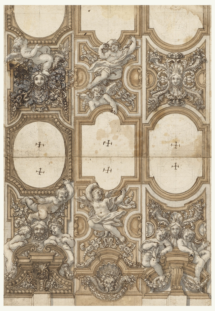 Project for the sculptured decorations of three caulted ceiling strips.  The lower half.  The strip at left: the frame is supported by a flying child partly in front of the lower panel.  It is decorated similar to the corresponding central one, shown in -2509.  Below is a broken pediment with two children, standing and leaning upon the corners.  The central strip: a flying putto supports the frame.  He is in front of the lower panel which is decorated with acanthus blossoms.  Below is an attic pediment, with a mask with a shell as a diadem and with cornucopias springing from the mouth.  Below is a festoon. Strip at right:  the lower panel is decorated similarly to the central one, shown in -2509.  Below is a pediment with two sitting children.  Crosses are in the free spaces, corresponding to those in -2509.  The scale is at right, in the lower framing line.  On the reverse is the other half of the project of -2509.  Entwined palm branches are sketched as a decoration of framing strips at left.