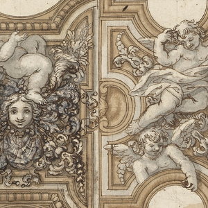 Ceiling decoration featuring several putti and smiling faces, foliage and decorative scrolls.