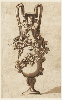 """An amphora, seen diagonally.  Around the body and the neck an ivy branch.  At the end of the handles a satyr mask.  The background tinted light brown; the shadow is indicated.  On the back written in pencil: """"con matteo nosselli 12."""""""