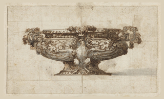Drawing for a decorative tureen. Throughout the surface grapevine foliage.  At center, an eagle with extended wings wrapping under the bowl area with a crown above its head.