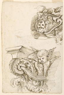 Upper left part of a capital with a cherub and acanthus leaves.