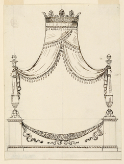 Elevation of a bed in the form of a festoon suspended between two baluster formed pedestals. Above, a fringed canopy hung from a circular crown with palmettes.