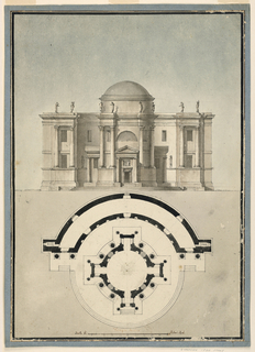 A circular domed temple, in plan and elevation, with four short wings and porticos on the axes.  Between the wings two columns resting on high base support an entablature above which,and aligned with the colums, are standing figures.  The round building sits inside a semi-circular two-storied structure with matching double columns and figures on the facade depicted.