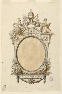 """Design for a frame for an oval mirror. At top left, two figure with the papal keys. Below, two double-headed eagles. At bottom, a tablet with the text """"PIVS VI POM"""" and a garland."""