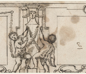Horizontal format, two blank panels flank two putti who deck a herm with garlands and at either extremity are seated figures. Project left incomplete.