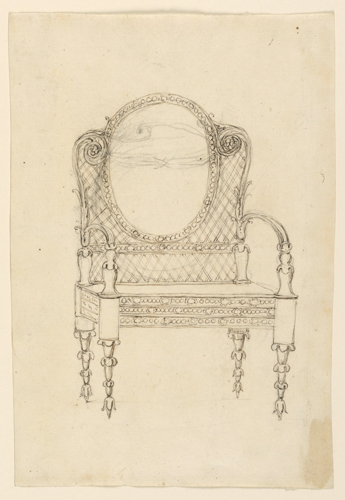 Vertical rectangle. Design for an armchair; the lower part of the legs consist of four chalices. Seatback decorated with an oval, a band, and a lattice.