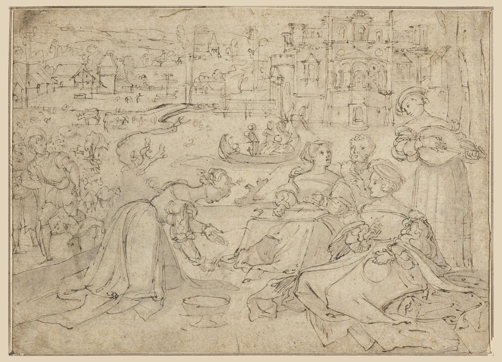 Recto: A woman is seated near a body of water surrounding a castle, attended by other women. To the left, herdsmen are seen with their animals. In the distance is a village. Verso: A group of people revel, gamble and are shown making love.