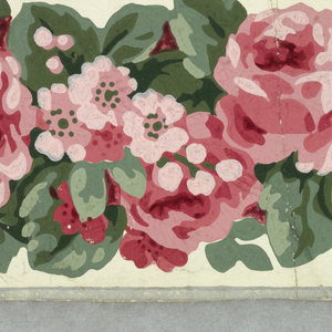On white satin ground, narrow band of close-spaced pink roses, tiny flowers, rose leaves. Narrow gray bands along edges.
